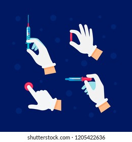 Doctor or scientist hands in latex gloves. Hands in sterile gloves holding syringe, pill, pipette, pressing a button. Medicine, science and health care concept illustration of hands with medical