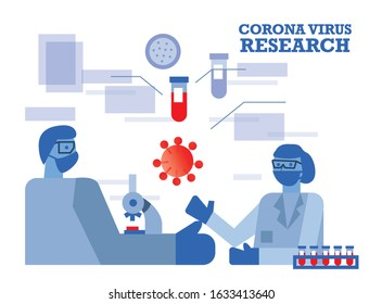 Doctor and scientist research coronavirus and coronavirus vaccine in the laboratory. Flat design vector illustration
