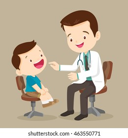 doctor is seeing a small boy.They are smiling. The doctor is looking at the child with joy. Isolated on background.