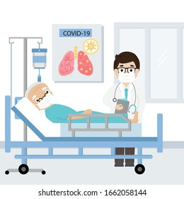Doctor and Senior patient infected with covid-19 virus on hospital bed. Vector illustration.