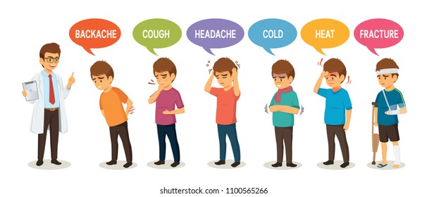 Doctor and set of symptoms with fracture cough headache heat cold and backache isolated on white backgroud cartoon vector illustration