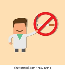 Doctor showing a no smoking sign, vector illustration design. Health care characters collection.