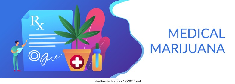 Doctor showing prescription for medical marijuana, bottle with cbd oil. Medical marijuana, medical cannabis, cannabinoids medicinal drugs concepts. Header or footer banner template with copy space.