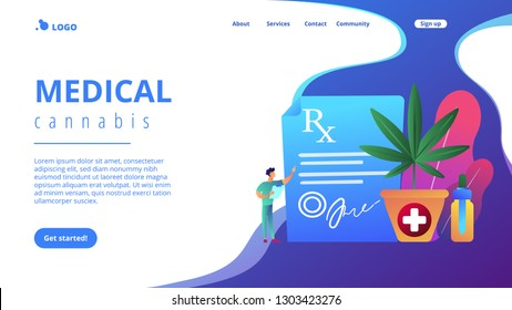 Doctor showing prescription for medical marijuana, bottle with cbd oil. Medical marijuana, medical cannabis, cannabinoids medicinal drugs concepts. Website vibrant violet landing web page template.
