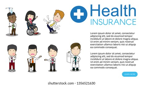 Doctor shows the cost list to the patient and employee character. Flat funny vector design.