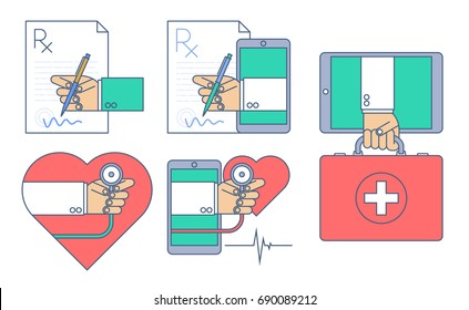 Doctor signing a rx prescription document. First aid by internet. Heart pulse examination by phone. Vector medicine and health infographic. Telemedicine, telehealth flat line concept illustration set.