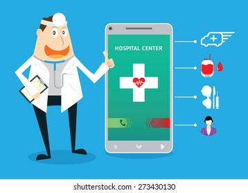 Doctor smile, Smartphone display call to hospital center with medical icons