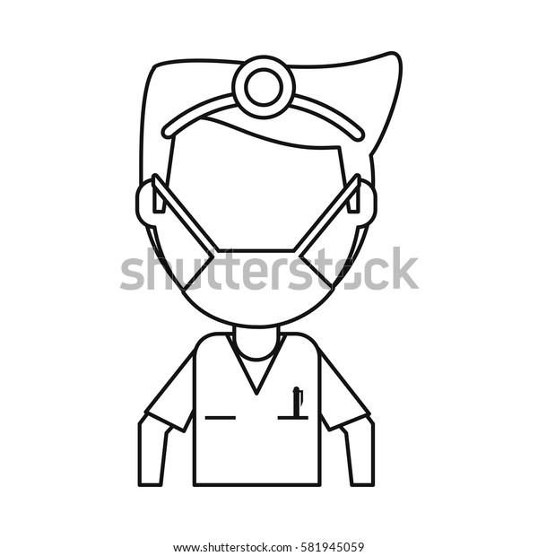 doctor specialist mask medical thin line