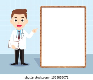 Doctor standing in front of visual white board giving advise to patient. Idea for doctor advise, medical healthcare vector illustration isolated cartoon background
