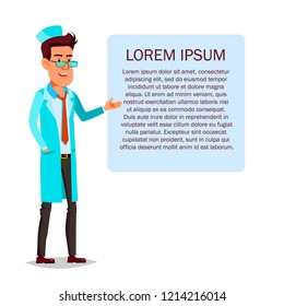 Doctor standing next to a tablet with health advice or a recipe. Cartoon character man medic on the background of the drawing Lorem Ipsum