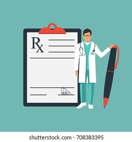 Doctor stands near clipboard with a pen in hand. Rx prescription form. Doctor writing prescription. Medical prescription pad. Vector illustration flat design style. Medical background, template.