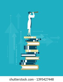 Doctor stands on the pile of books and looking to the future with telescope. Knowledge, data, intellectual progress. Business concept illustration