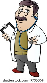 Doctor with stethoscope in cartoon style
