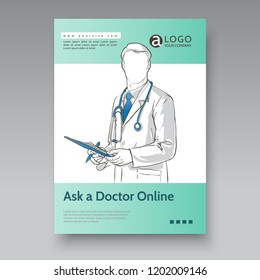 doctor with stethoscope for flyers, poster, web, banner, and card sketch vector illustration