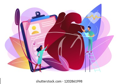 Doctor with stethoscope listening to huge heart beat. Ischemic heart disease, heart disease and coronary artery disease concept on white background. Bright vibrant violet vector isolated illustration