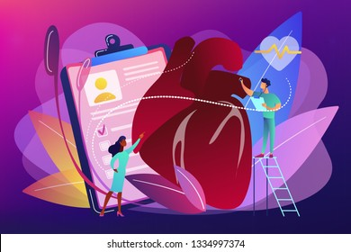 Doctor with stethoscope listening to huge heart beat. Ischemic heart disease, heart and coronary artery disease concept on ultraviolet background. Bright vibrant violet vector isolated illustration