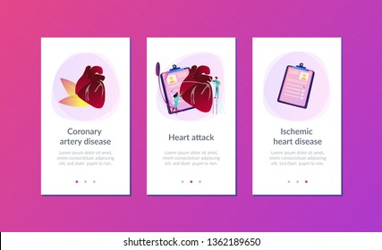 Doctor with stethoscope listening to huge heart beat. Ischemic heart disease, heart disease and coronary artery disease concept on white background. Mobile UI UX GUI template, app interface wireframe