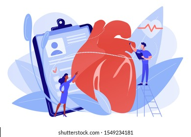Doctor with stethoscope listening to huge heart beat. Ischemic heart disease, heart disease and coronary artery disease concept on white background. Pinkish coral bluevector vector isolated
