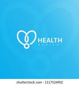 Doctor Stethoscope Logo Health Care Medical Symbol Abstract Linear Heart Silhouette Vector