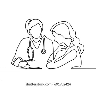 Doctor with stethoscope treat patient woman. Continuous line drawing. Vector illustration on white background