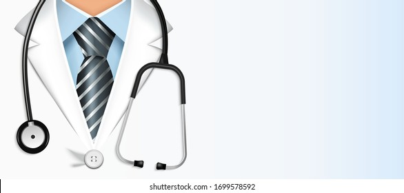 Doctor in a suit with a stethoscope closeup. Medical education. Greeting card with a doctor.