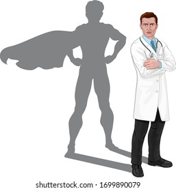 A doctor with a superhero shadow. Super hero medical professional healthcare worker concept.
