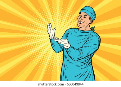 Doctor surgeon after the surgery smiling. Medicine and health care. Pop art retro vector illustration