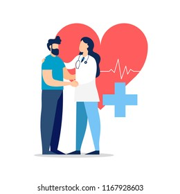 Doctor taking care of patient health for medical exam, checkup or consultation concept. Medicine illustration on isolated background. EPS10 vector.
