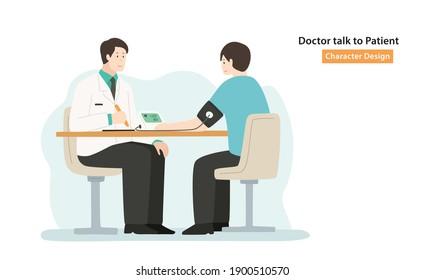 doctor talk to patient cartoon character design