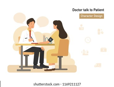 doctor talk to woman flat character design with icon set