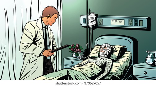 A doctor talking to a female patient lying in hospital