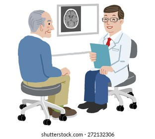 Doctor talking to his senior patient after CT scan