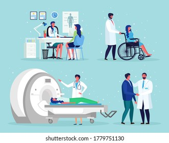 Doctor talks with man. Magnetic Resonance Imaging Technology Tomography, radiology, xray machine for examination for oncology disease MRI. Nurse, wheelchair for disabled senior patient Vector design