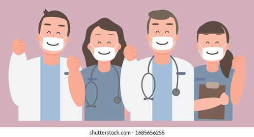 The doctor team for fighting the covid 19 virus in a happy mood. They send out strength and wearing a smiley mask - vector