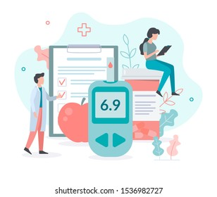 The doctor tests the level of glucose in the blood, prescribes statins. Medicine diabetes concept. Flat vector illustration.