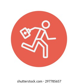 Doctor thin line icon Medical symbol thin line icon for web and mobile minimalistic flat design. Vector white icon inside the red circle.