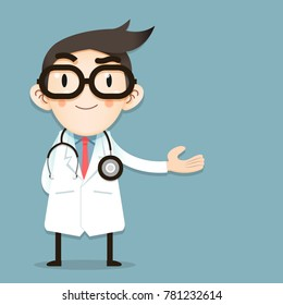 Doctor tiny character greeting gesture, Vector Illustrator