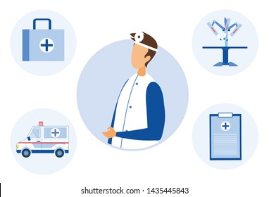 Doctor and Tools for Treating and Observing Patients. Flat Cartoon Male Medical Specialist Portrait and Bag, Ambulance, Robotic Surgery Arm, Health Consumer Card Icons. Vector Healthcare Illustration
