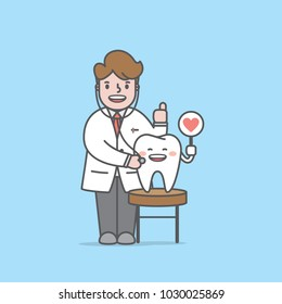 Doctor & Tooth character tooth dental checkup illustration vector on blue background. Dental concept.