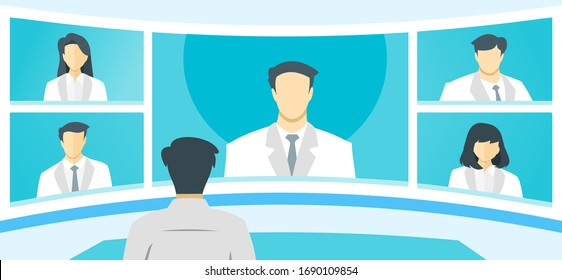Doctor TV Video Web Conference Teleconference. Surgeon Specialist Medical Expert Nurse Assistant Online Virtual Meetings. Hospital Team Remote Work During COVID-19 Pandemic Lockdown & Self Quarantine