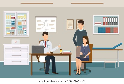 Doctor in uniform give two patients some medicine drugs. Family at a doctor's consultation in clinic office. Practitioner and couple people man and woman in consulting room. Vector illustration.