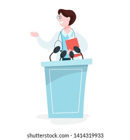 Doctor in uniform on the conference concept. Medical worker on the seminar. Presentation on the public. Isolated vector illustration in cartoon style