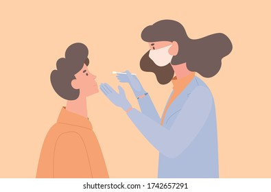Doctor in uniform and protective mask take swab from a patient for coronavirus sample vector flat illustration. Medical worker tests young man. Doctors research samples of new coronavirus.