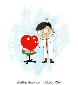 Doctor using stethoscope to hear heart pulse. Medicine and health care cartoon concept illustration. Visiting doctor. Vector