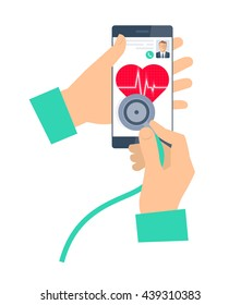 Doctor using a stethoscope on a phone. Telemedicine and telehealth flat vector concept illustration. Hand, stethoscope, smartphone, heart with pulse. For tele and remote medicine, health infographic.