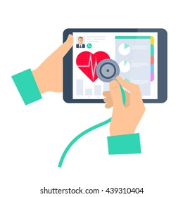 Doctor using a stethoscope on a tablet computer. Telemedicine and telehealth flat vector concept illustration. Hand, stethoscope, tablet, heart. For tele and remote medicine and health infographic.
