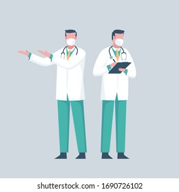 Doctor using surgical mask for medical infographic about coronavirus (Covid-19) or germs