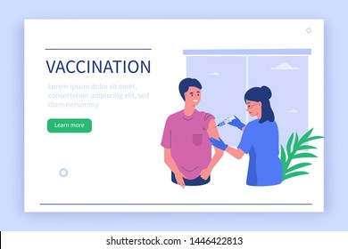 Doctor vaccinating patient. Can use for web banner, infographics, hero images.  Flat style vector illustration isolated on white background.