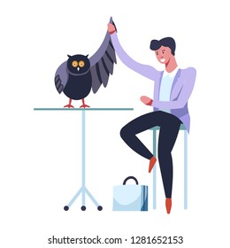 Doctor veterinarian make with owl curing broken wing vector. Wildlife treatment of animal with feathers plumage isolated vet with birdie on table functioning at night having problem with health care