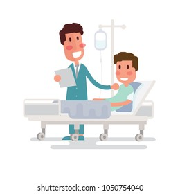Doctor visit to the ward man lying in a medical bed on white background
